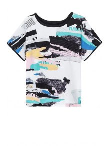 Printed Round Neck Short Sleeve Loose T-Shirt