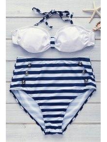 Trajes De Baño Moda De Poliséter En Rayas Para Las Mujeres  - Azul