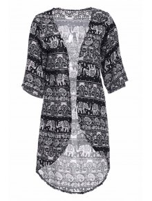 Colllarless Ethnic Pattern Print Blouse