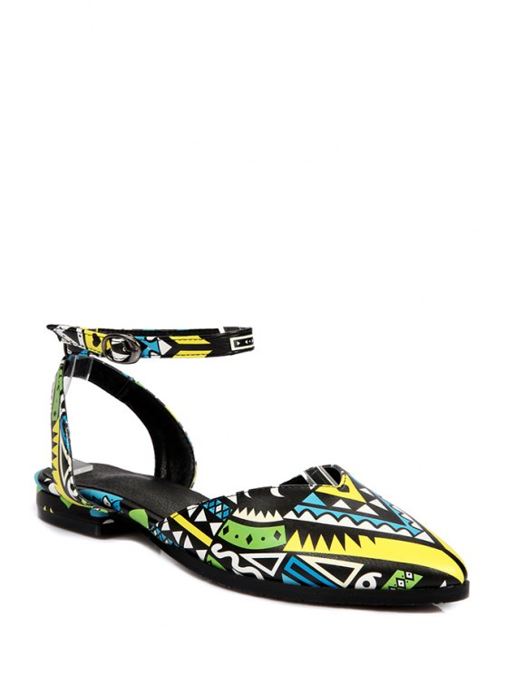 sale Print Ankle Strap Flat Heel Sandals - YELLOW 39