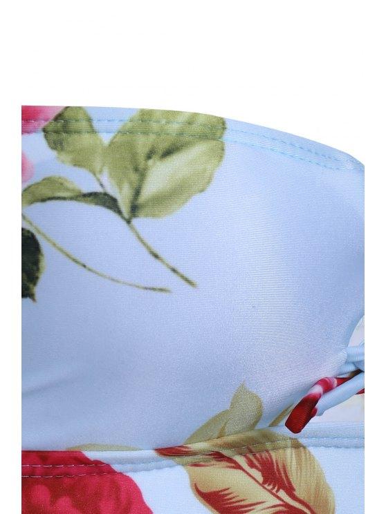 Flower Print Cami One-Piece Swimwear - GREEN L Mobile