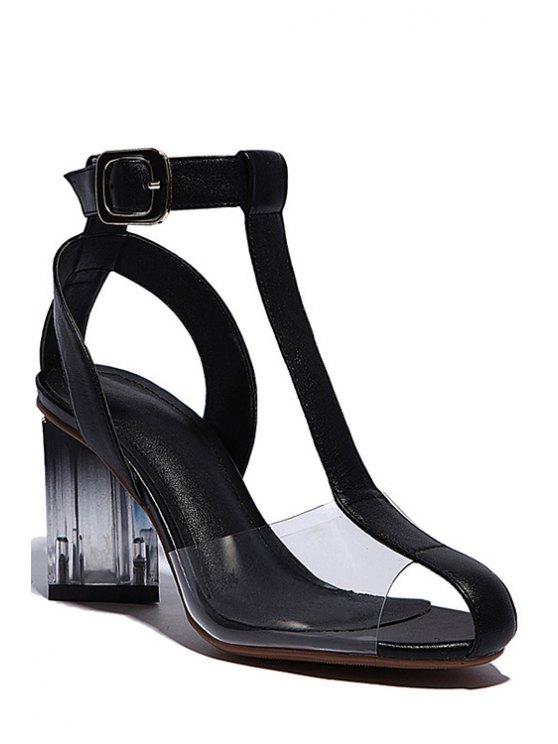 women Transparent T-Strap Chunky Heel Sandals - BLACK 38