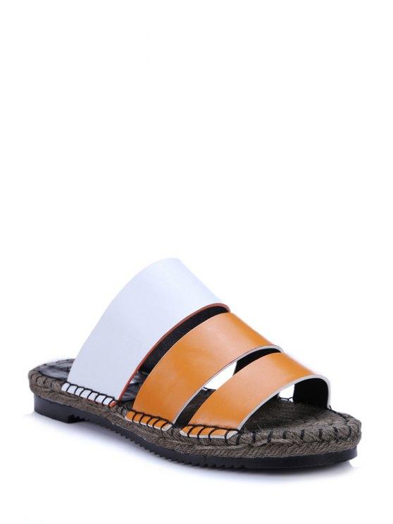 new Color Block Weaving Flat Heel Slippers - ORANGE 39