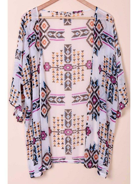 latest Floral Print Collarless Kimono Blouse - WHITE S
