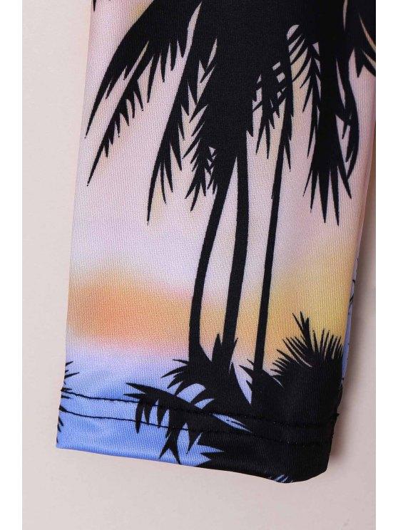 Tropical Print Rashguard One Piece Swimsuit - COLORMIX S Mobile