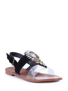Rhinestone Transparent Flat Heel Sandals - Black 39