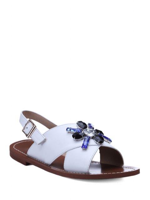 buy Rhinestone Cross-Strap Flat Heel Sandals - WHITE 36 Mobile