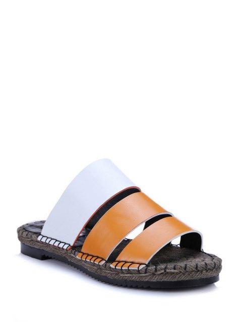 new Color Block Weaving Flat Heel Slippers - ORANGE 39 Mobile