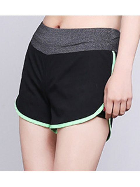 unique Elastic Waist Slit Sport Shorts - APPLE GREEN M Mobile