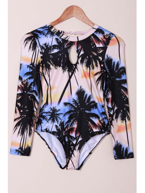 hot Tropical Print Rashguard One Piece Swimsuit - COLORMIX M Mobile