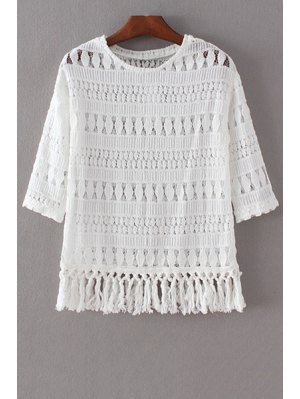 Tassels Spliced 3/4 Sleeve Round Collar Lace T-Shirt - White