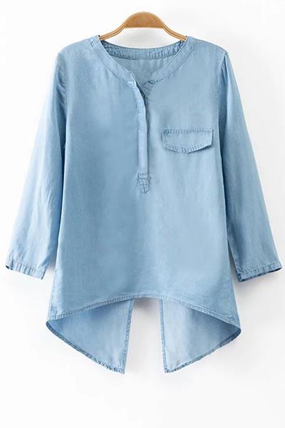 Back Slit Stand Neck 3/4 Sleeve Denim BlouseClothes<br><br><br>Size: L<br>Color: LIGHT BLUE
