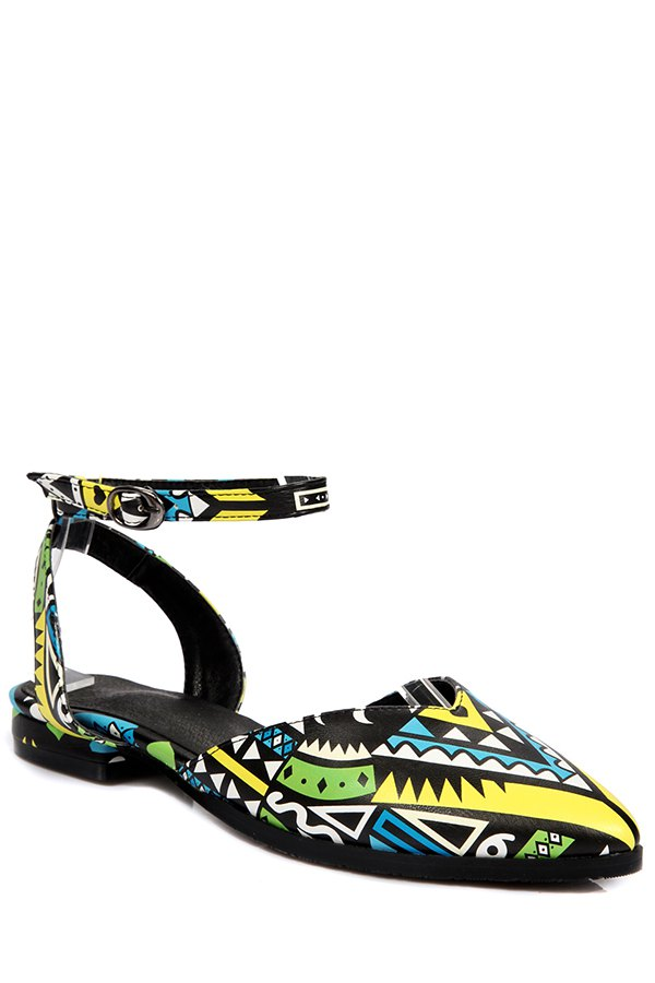 Print Ankle Strap Flat Heel Sandals - YELLOW