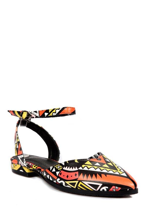 Print Ankle Strap Flat Heel Sandals - ORANGE