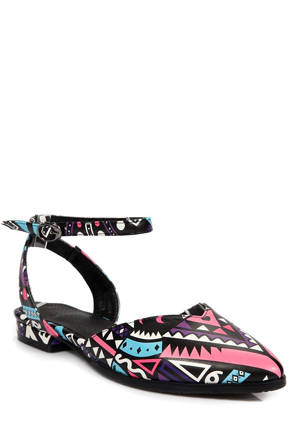 Print Ankle Strap Flat Heel Sandals - PEACH RED