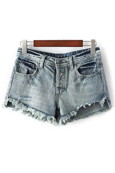 Denim Bleach Wash Ripped Shorts