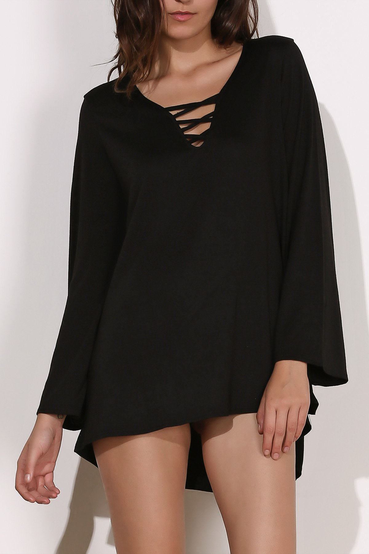 V-Neck Long Sleeve Black Dress