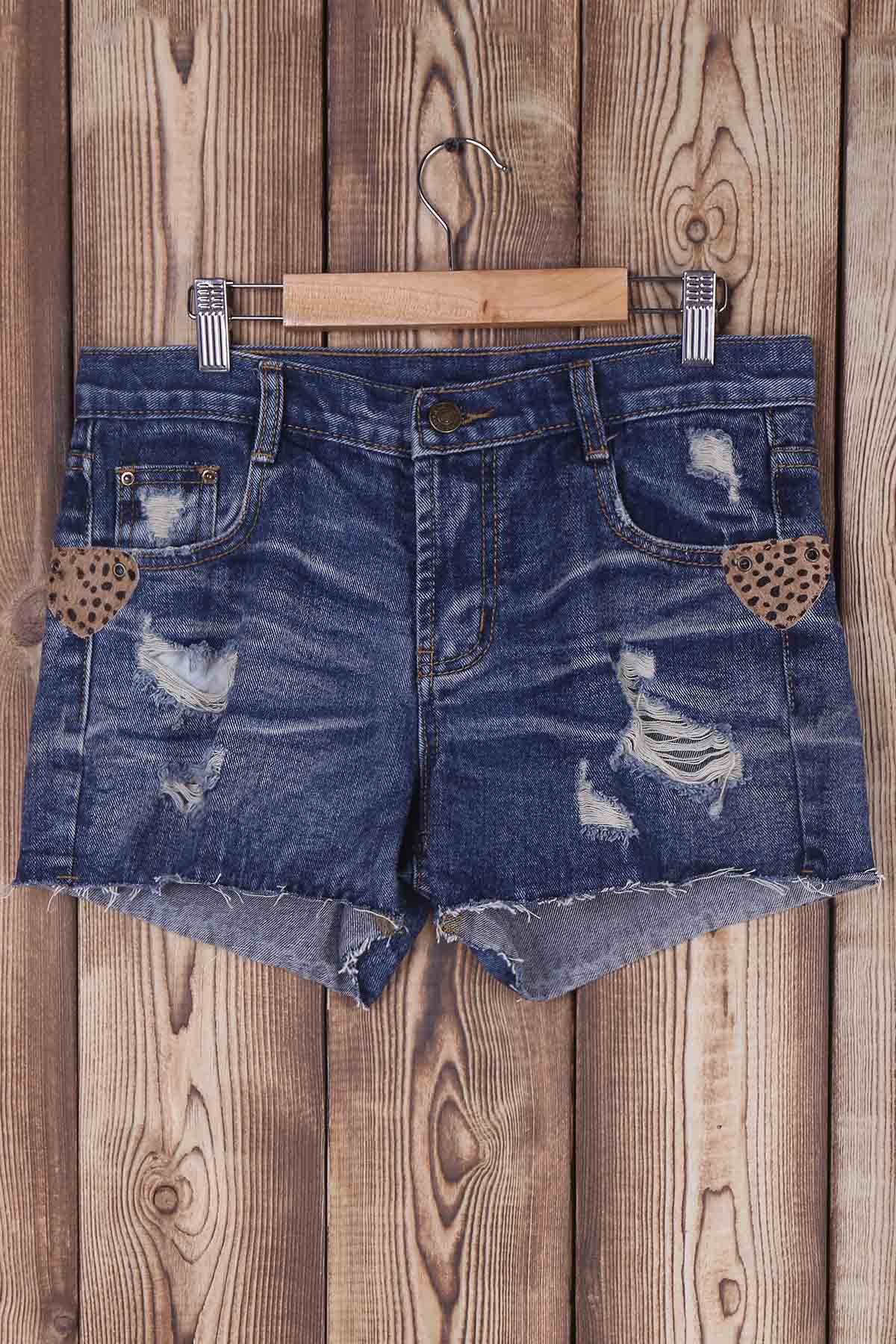 Ripped Bleach Wash Mid-Waist Denim Shorts