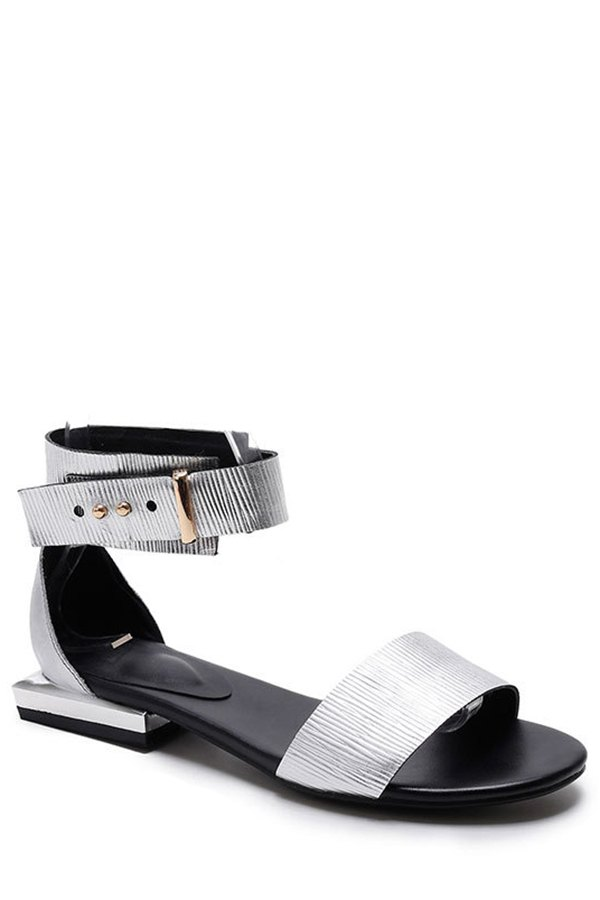 Buy Metallic Color Ankle-Wrap Flat Heel Sandals SILVER 34
