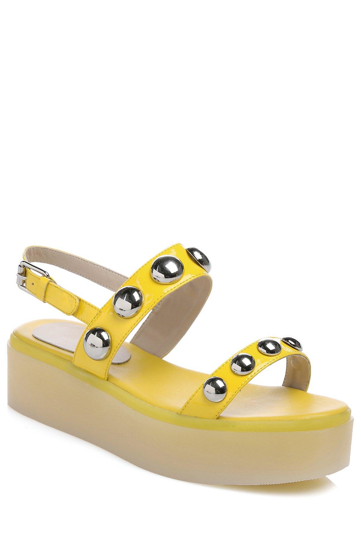 Buy Rivet Solid Color Platform Sandals YELLOW 35