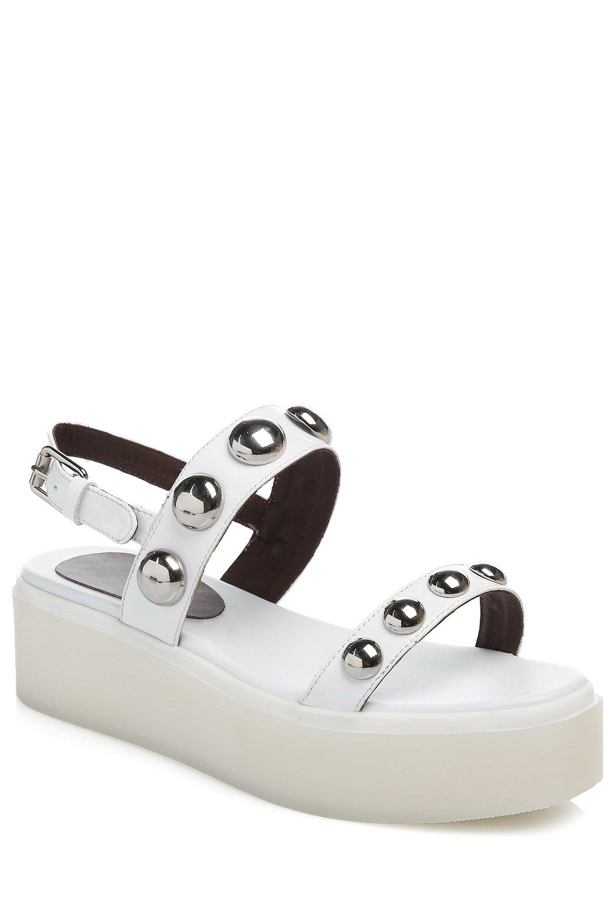 Buy Rivet Solid Color Platform Sandals WHITE 39