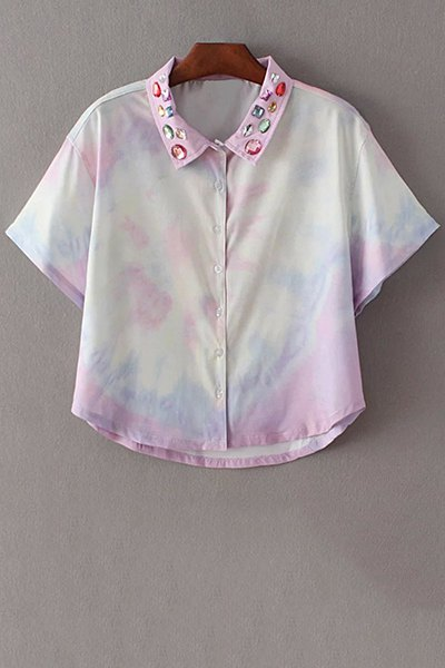 Tie-Dyed Shirt Collar Half Sleeve Cropped Shirt