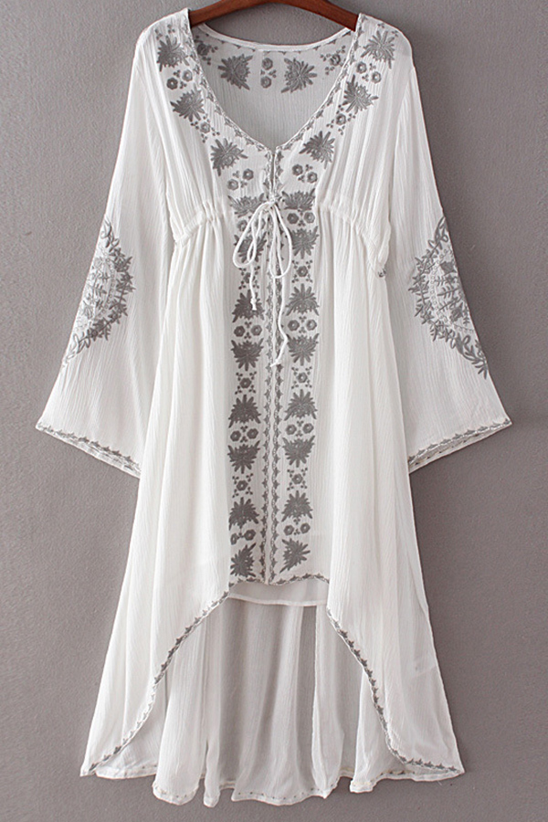 V-Neck Long Sleeve Embroidery High-Low Hem Dress