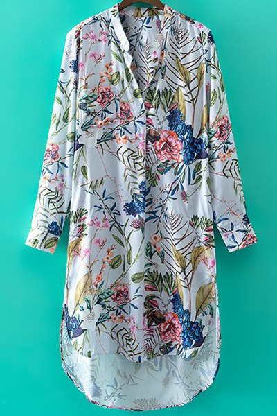 Stand Collar Long Sleeve Floral Print High-Low Hem Dress