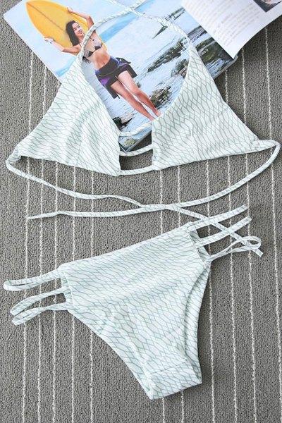 Halterneck Geometric Print Hollow Bikini