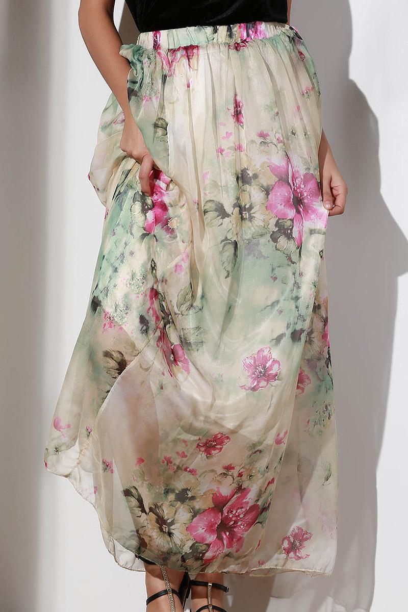Elastic Waist Floral A Line Skirt
