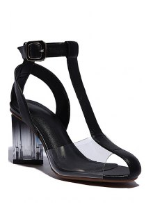 Transparent T-Strap Chunky Heel Sandals - Black 39