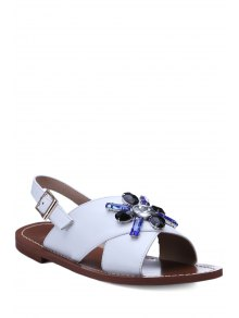 Rhinestone Cross-Strap Flat Heel Sandals - White 36