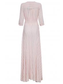 V-Neck Stripe Slit 3/4 Sleeve Dress - PINK S