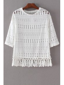 Tassels Spliced 3/4 Sleeve Round Collar Lace T-Shirt