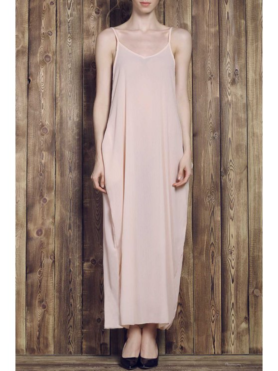 Solid Color Cami Maxi Dress - Abricot M