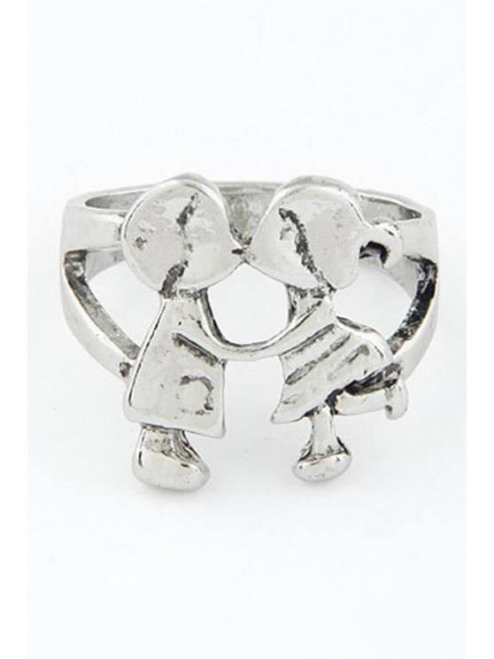 shops Lover Kiss Shape Ring - SILVER ONE-SIZE