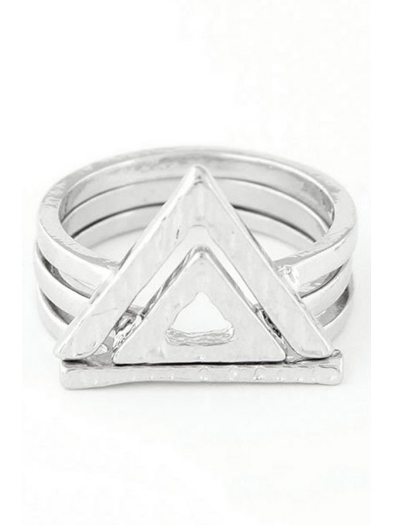 Double Hollow Triangle Rings - SILVER ONE-SIZE Mobile