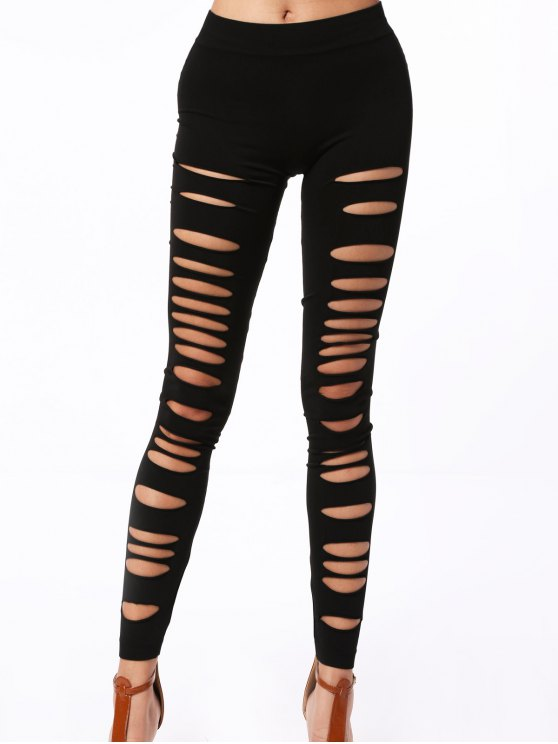 sale Hollow Out Elastic Leggings - BLACK ONE SIZE