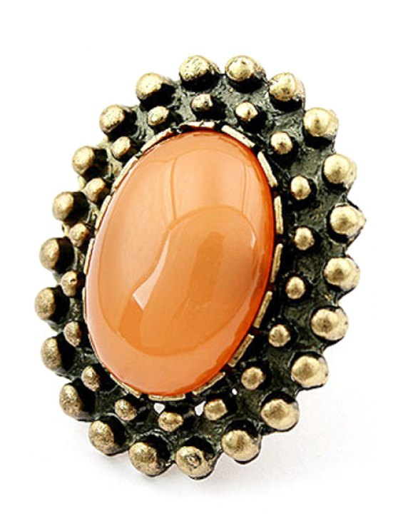 Elliptical Faux Gem Inlay Retro Ring - ORANGE  Mobile