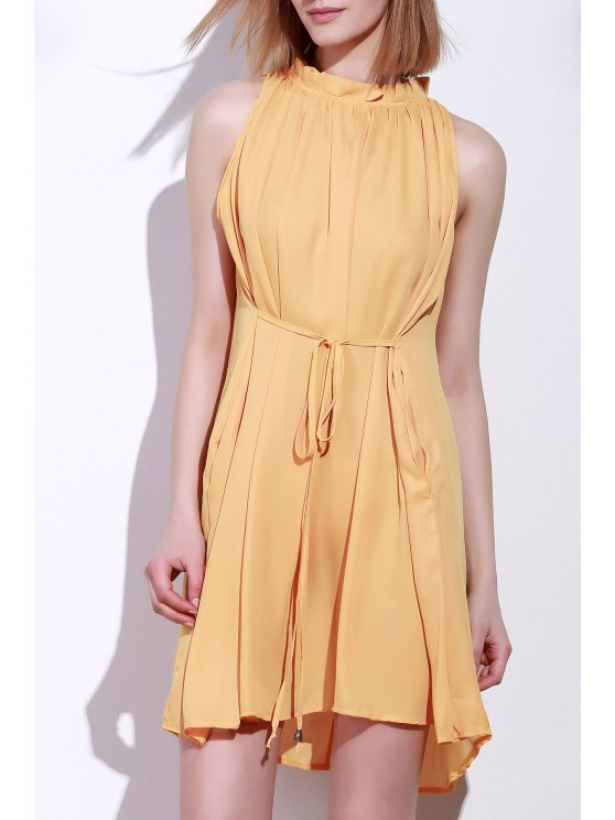 women Round Neck Ruffle Tie-Up Sleeveless Dress - DEEP YELLOW XL