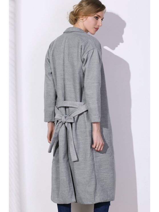 Lapel One Button Solid Color Trench Coat - GRAY XL Mobile