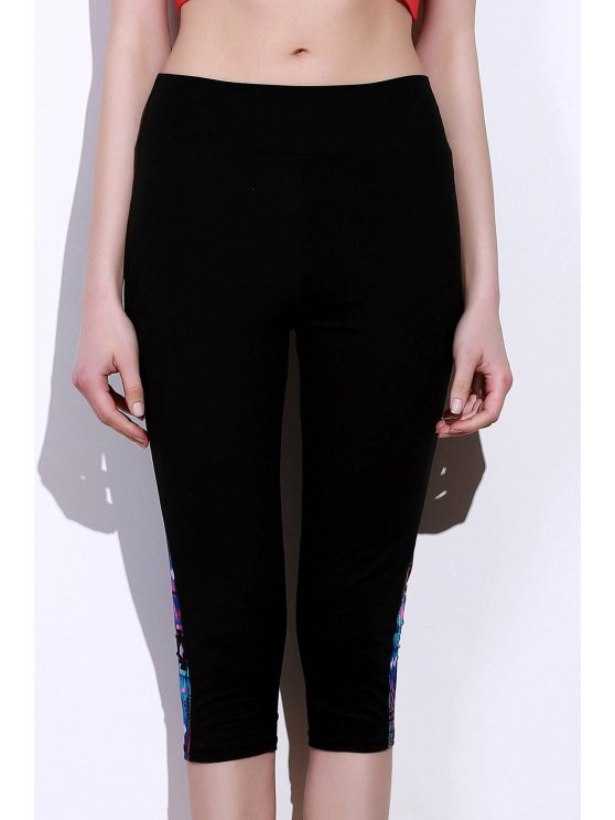 Capri Pants élégant Spliced Starlit Imprimer Skinny Femmes - Bleu et Noir S
