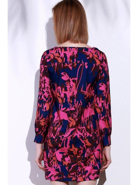 Printed Long Sleeve Tunic Dress - SANGRIA XL Mobile