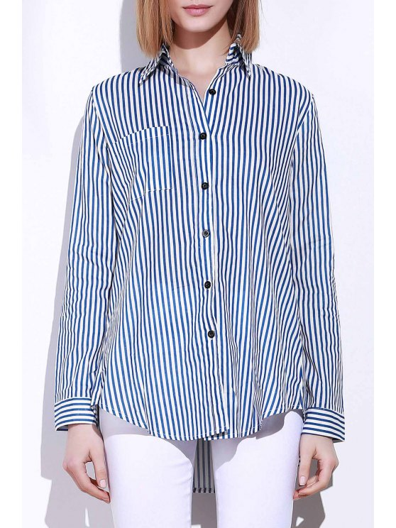 Blue White Stripes Long Sleeve Shirt - BLUE AND WHITE S Mobile