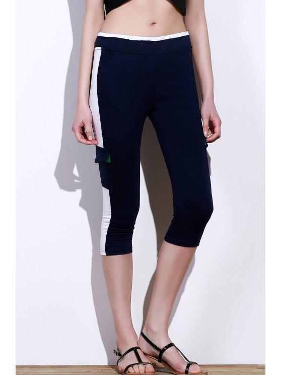 Activo elástico de la cintura del color del bloque de bolsillo de diseño de las mujeres pantalones de yoga - Azul Purpúreo M