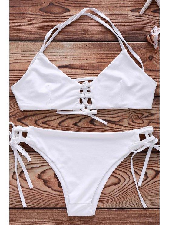 shops Cami String Lace Up Bathing Suit - WHITE L
