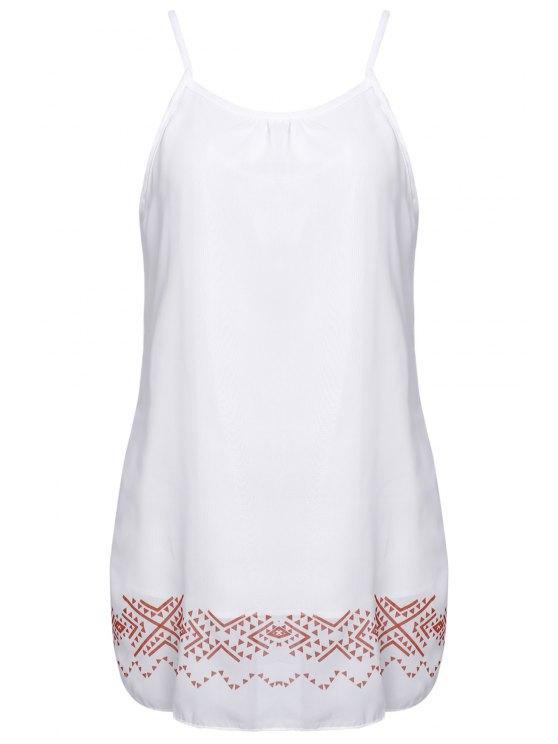 fancy Printed Halter Backless Chiffon Beach Dress - WHITE S