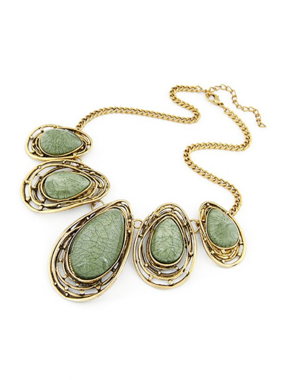 Faux Gem Water Drop Retro Style Necklace - GREEN  Mobile