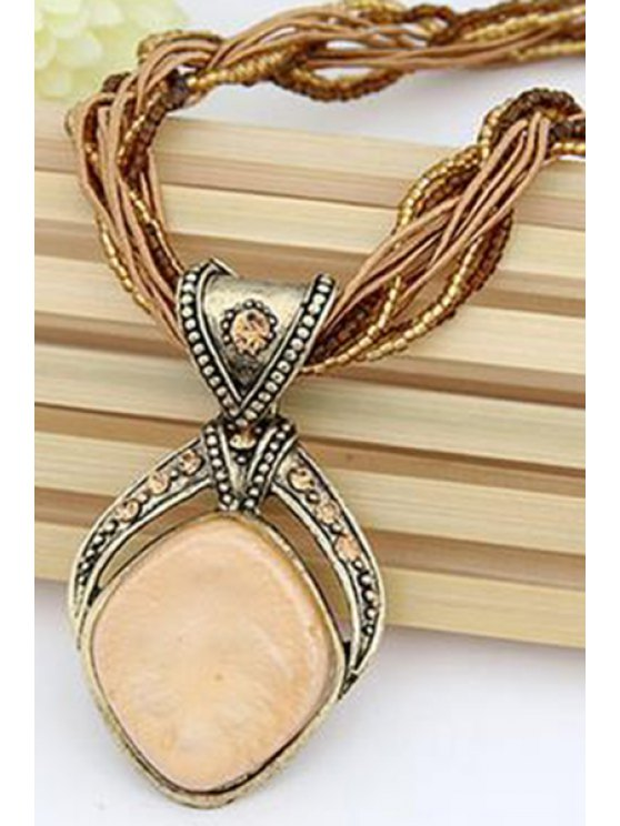 Faux Gem Multilayered Retro Style Necklace -   Mobile
