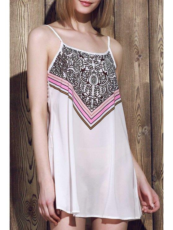 فستان حزام السباغيتيى طباعة الشريط بلا أكمام - أبيض L